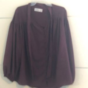 Time and Tru wine work blouse sheer